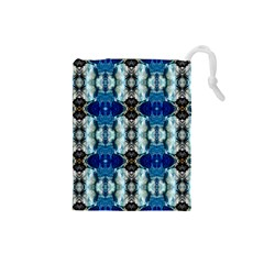 Royal Blue Abstract Pattern Drawstring Pouches (Small)