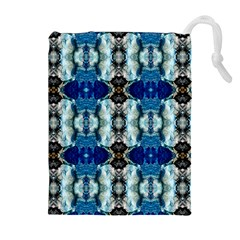 Royal Blue Abstract Pattern Drawstring Pouches (extra Large)