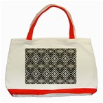 Black White Diamond Pattern Classic Tote Bag (Red)  Front