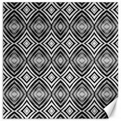 Black White Diamond Pattern Canvas 12  x 12