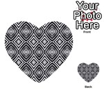 Black White Diamond Pattern Multi-purpose Cards (Heart)  Front 2