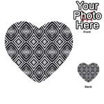 Black White Diamond Pattern Multi-purpose Cards (Heart)  Back 16