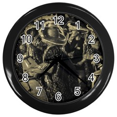 Group Of Candombe Drummers At Carnival Parade Of Uruguay Wall Clocks (Black)
