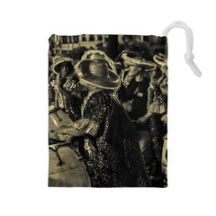 Group Of Candombe Drummers At Carnival Parade Of Uruguay Drawstring Pouches (Large)
