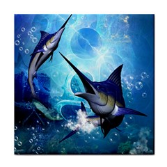 Awersome Marlin In A Fantasy Underwater World Tile Coasters