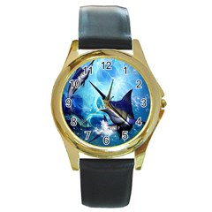 Awersome Marlin In A Fantasy Underwater World Round Gold Metal Watches