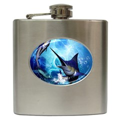Awersome Marlin In A Fantasy Underwater World Hip Flask (6 oz)