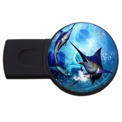 Awersome Marlin In A Fantasy Underwater World USB Flash Drive Round (1 GB)