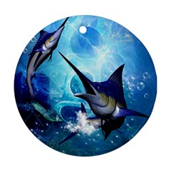 Awersome Marlin In A Fantasy Underwater World Round Ornament (Two Sides)