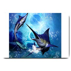 Awersome Marlin In A Fantasy Underwater World Large Doormat