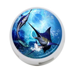 Awersome Marlin In A Fantasy Underwater World 4-Port USB Hub (One Side)