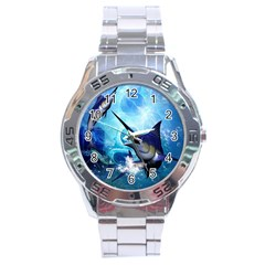 Awersome Marlin In A Fantasy Underwater World Stainless Steel Men s Watch