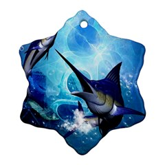Awersome Marlin In A Fantasy Underwater World Ornament (Snowflake)