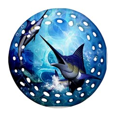 Awersome Marlin In A Fantasy Underwater World Round Filigree Ornament (2Side)