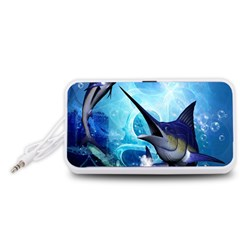 Awersome Marlin In A Fantasy Underwater World Portable Speaker (White)