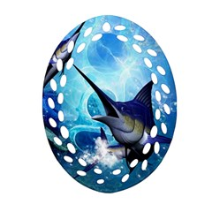 Awersome Marlin In A Fantasy Underwater World Ornament (Oval Filigree)