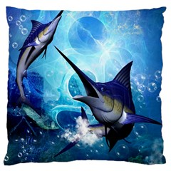Awersome Marlin In A Fantasy Underwater World Large Cushion Cases (Two Sides)