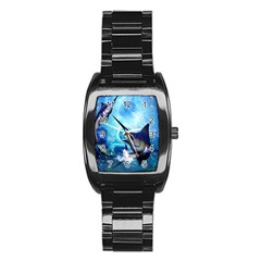 Awersome Marlin In A Fantasy Underwater World Stainless Steel Barrel Watch