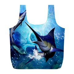 Awersome Marlin In A Fantasy Underwater World Full Print Recycle Bags (L)