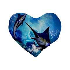 Awersome Marlin In A Fantasy Underwater World Standard 16  Premium Flano Heart Shape Cushions