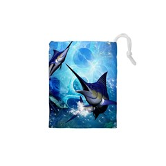 Awersome Marlin In A Fantasy Underwater World Drawstring Pouches (XS)