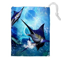 Awersome Marlin In A Fantasy Underwater World Drawstring Pouches (xxl)