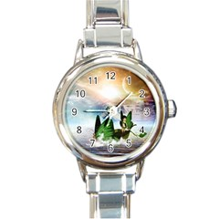 Cute Fairy In A Butterflies Boat In The Night Round Italian Charm Watches
