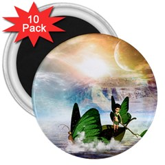 Cute Fairy In A Butterflies Boat In The Night 3  Magnets (10 pack)