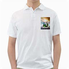 Cute Fairy In A Butterflies Boat In The Night Golf Shirts