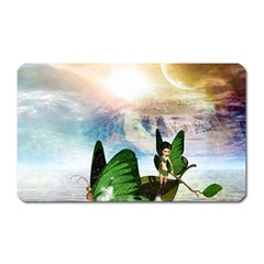 Cute Fairy In A Butterflies Boat In The Night Magnet (Rectangular)