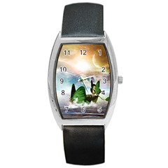 Cute Fairy In A Butterflies Boat In The Night Barrel Metal Watches