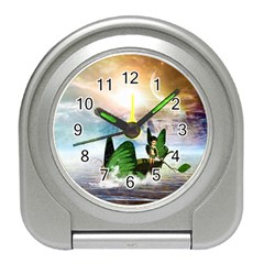 Cute Fairy In A Butterflies Boat In The Night Travel Alarm Clocks