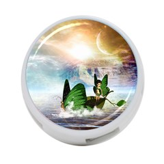 Cute Fairy In A Butterflies Boat In The Night 4-Port USB Hub (Two Sides)