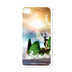 Cute Fairy In A Butterflies Boat In The Night Apple iPhone 4 Case (White)