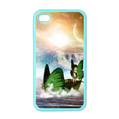 Cute Fairy In A Butterflies Boat In The Night Apple iPhone 4 Case (Color)