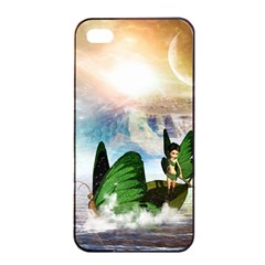 Cute Fairy In A Butterflies Boat In The Night Apple iPhone 4/4s Seamless Case (Black)