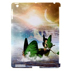 Cute Fairy In A Butterflies Boat In The Night Apple iPad 3/4 Hardshell Case (Compatible with Smart Cover)