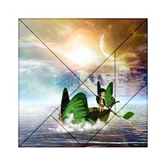 Cute Fairy In A Butterflies Boat In The Night Acrylic Tangram Puzzle (6  x 6 )