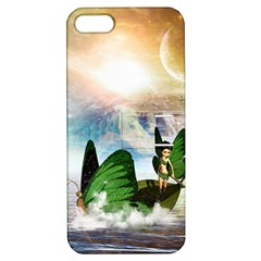Cute Fairy In A Butterflies Boat In The Night Apple iPhone 5 Hardshell Case with Stand