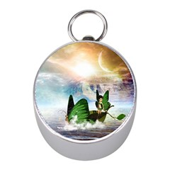 Cute Fairy In A Butterflies Boat In The Night Mini Silver Compasses