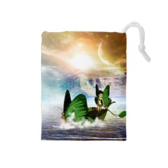 Cute Fairy In A Butterflies Boat In The Night Drawstring Pouches (Medium)