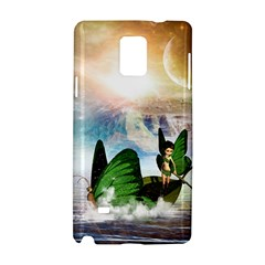 Cute Fairy In A Butterflies Boat In The Night Samsung Galaxy Note 4 Hardshell Case