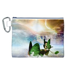 Cute Fairy In A Butterflies Boat In The Night Canvas Cosmetic Bag (L)