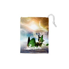Cute Fairy In A Butterflies Boat In The Night Drawstring Pouches (XS)
