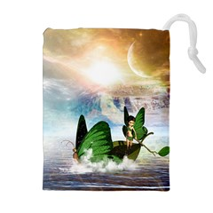 Cute Fairy In A Butterflies Boat In The Night Drawstring Pouches (Extra Large)