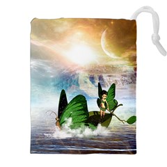 Cute Fairy In A Butterflies Boat In The Night Drawstring Pouches (XXL)