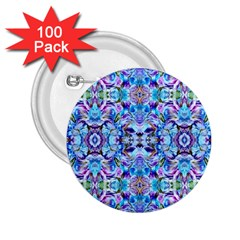 Elegant Turquoise Blue Flower Pattern 2.25  Buttons (100 pack)
