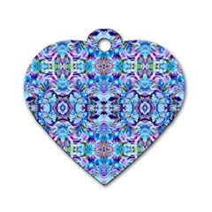 Elegant Turquoise Blue Flower Pattern Dog Tag Heart (Two Sides)