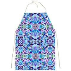 Elegant Turquoise Blue Flower Pattern Full Print Aprons
