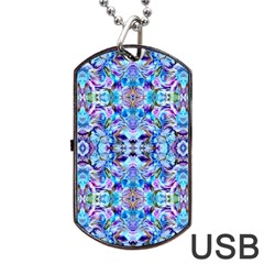 Elegant Turquoise Blue Flower Pattern Dog Tag USB Flash (Two Sides)